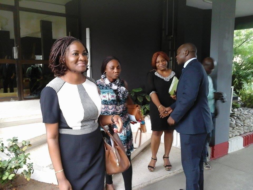 Quelques membres de la délégation de @Peace_ci à l'issue de la rencontre avec le Directeur de Cabinet du Ministre (à droite), crédit photo : Magloire Zoro