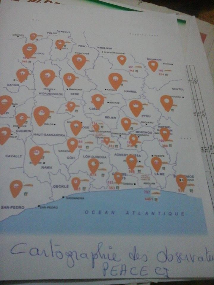 Une vue de la cartographie des Observateurs @Peace_ci, crédit photo : Magloire Zoro