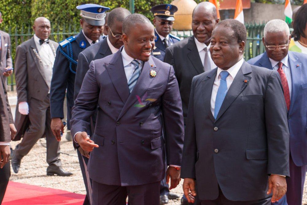 Le Président de l'Assemblée Nationale et l'Ex Président de la République, M. Henri Konan Bédié, à l'occasion de la cérémonie solennelle d'ouverture de la deuxième session ordinaire 2016. © Photo : Yefien